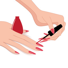 Woman Hands , Applying Nail Polish, Vector Illustration