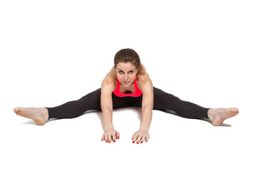 woman stretching isolated