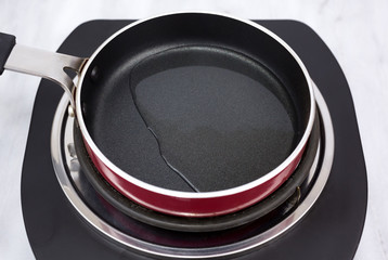 Olive oil in small frying pan.