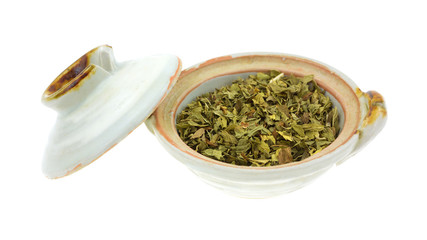 Fresh spearmint herb in a bowl