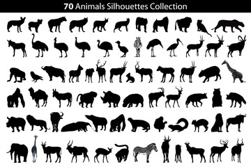 70 animals silhouettes collection