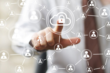 Businessman icon pushing button cloud lock