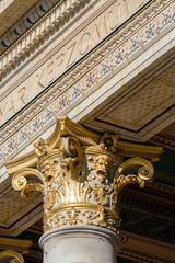 Golden capital in one of the historic buildings in Budapest
