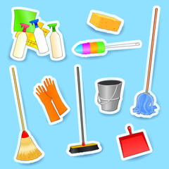 Cleaning equipment, set of vector icons