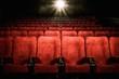 Leinwanddruck Bild - Empty comfortable red seats with numbers in cinema