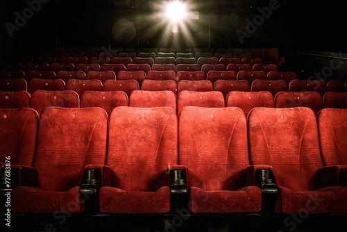 Empty comfortable red seats with numbers in cinema - 77683876