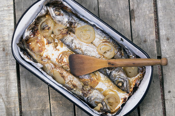 baked mackerel fish in casserole