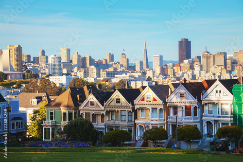 Poster San Francisco cityscape as seen from Alamo square park
