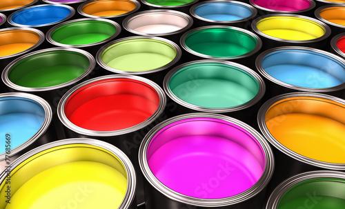 Leinwanddruck Bild paint buckets
