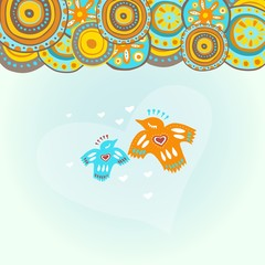 Cute birds in love under the mandalas' sky