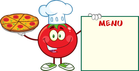 Tomato Chef Cartoon Character Holding A Pizza And Menu Board