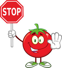 Tomato Cartoon Character Gesturing And Holding A Stop Sign