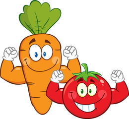 Carrot And Tomato Cartoon Mascot Characters Showing Muscle Arms