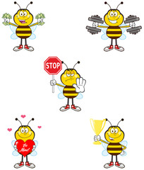 Bee Cartoon Character Different Interactive Poses 2. Collection