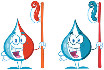 Toothpaste Drop Cartoon Mascot Character. Collection Set