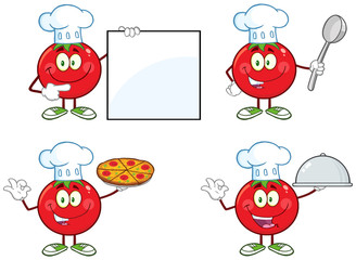 Red Tomato Character Different Interactive Poses 1. Collection