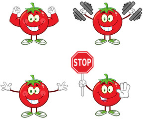 Red Tomato Character Different Interactive Poses 3. Collection