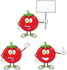 Red Tomato Character Different Interactive Poses 4. Collection