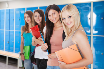 Young Female Students In Changing Room