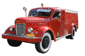 Old classic of red color fire truck