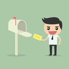 Businessman receive and send mail at mailbox