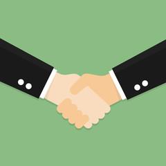 partnership handshake to business success concept.