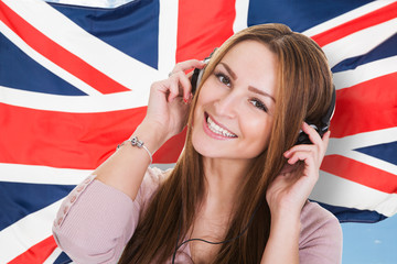 Woman Listening English Language Audiobook