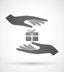 Hands protecting or giving a present