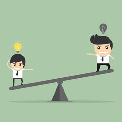 Value of idea. seesaw of businessman concept