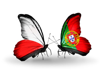 Two butterflies with flags Poland and Portugal