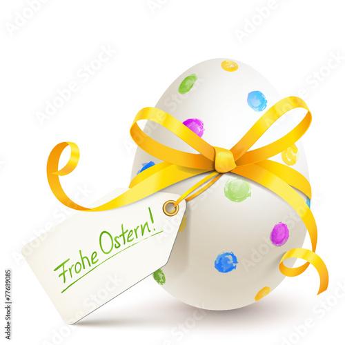 Osterei mit gelber Schleife u. Etikett - Frohe Ostern