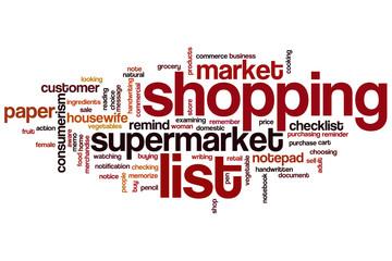 Shopping list word cloud