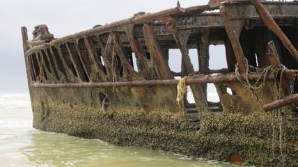 rusting wreck of the Maheno at Fraser Island, Australia