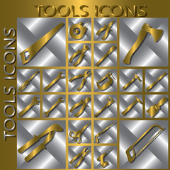 gold tools icons in silver