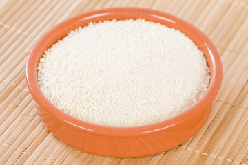 Farofa - Bowl of toasted manioc flour.