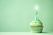 Green birthday cupcake - 77691830