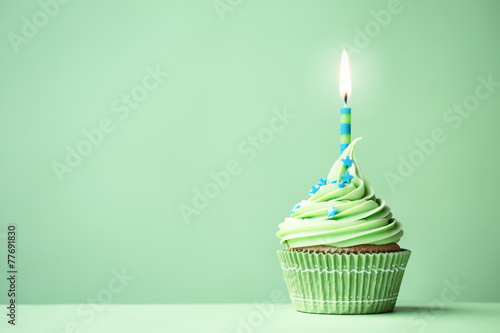 In de dag Koekjes Green birthday cupcake