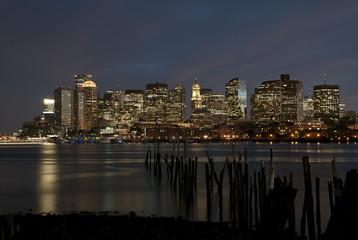 Boston night skyline of the city