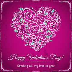valentine card with heart of flowers and wishes text
