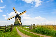 "Постер, картина, фотообои ""Rural road and windmill in Netherlands"""