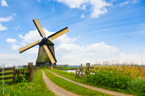 Rural road and windmill in Netherlands - 77692466