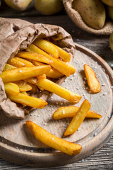 Homemade French fries made ??from potatoes