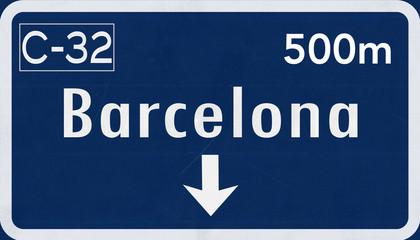 Barcelona Spain Highway Road Sign