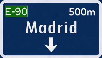 Madrid Spain Highway Road Sign