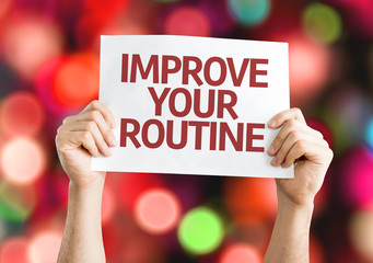Improve Your Routine card with colorful background