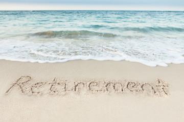 Retirement Written On Sand By Sea