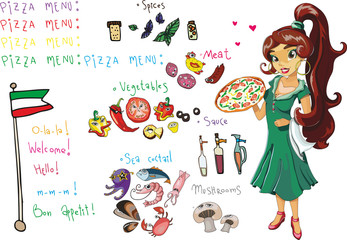 set menu for pizza  of different ingredients