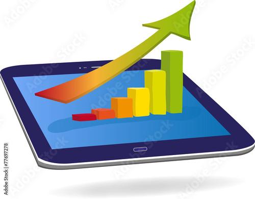 Diagramm auf Tablet, Vektor - 77697278