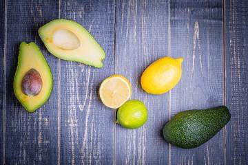 Avocado, lemon, lime