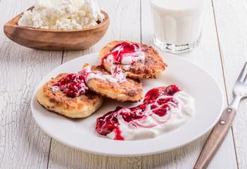 Homemade cheese pancakes